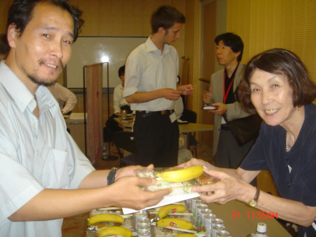 Makiko serving her first lunch